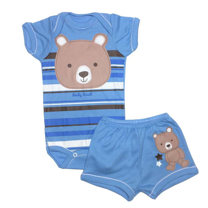 Body Manga Curta e Shorts Ursinho - Baby Duck