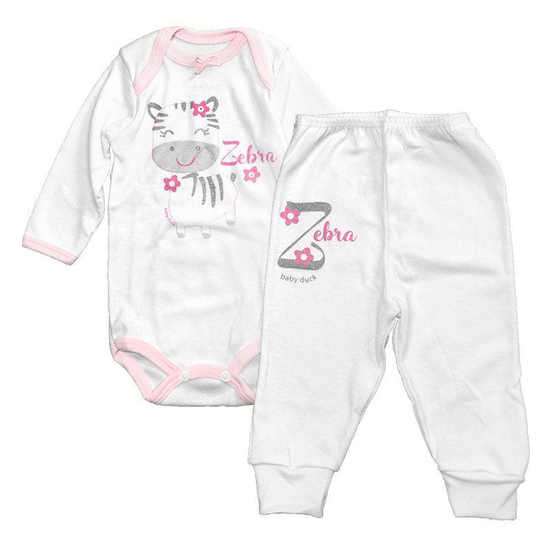 Body Manga Longa e Calça Zebra Rosa - Baby Duck - RN