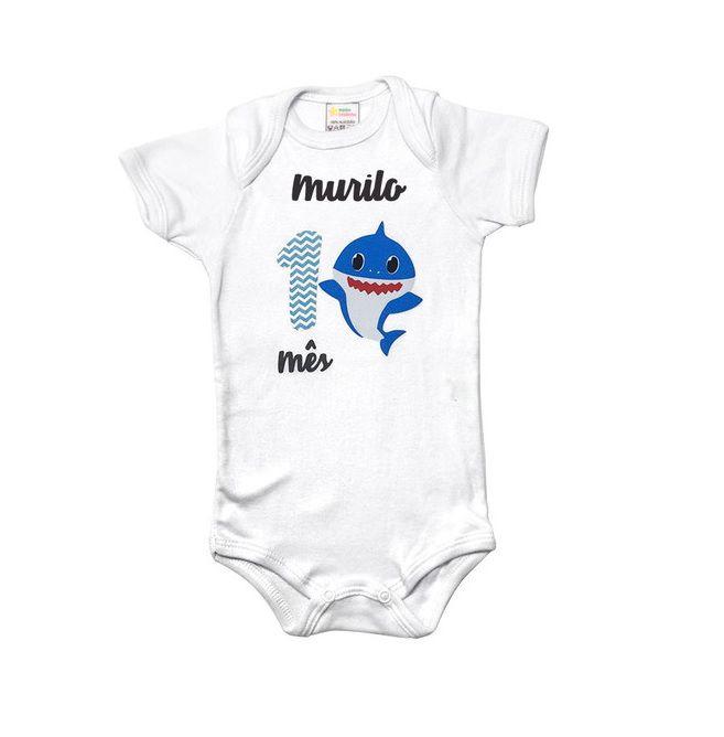 Body Mês Aniversário - Baby Shark  - Minha Estrelinha