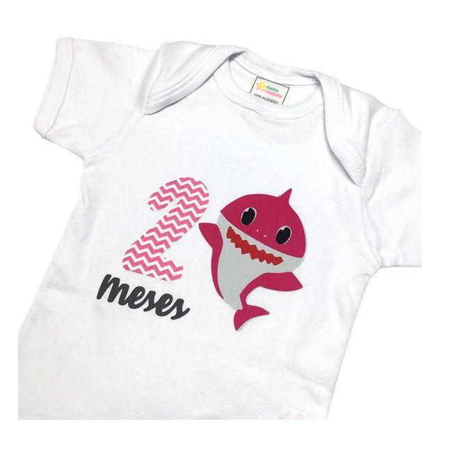 Body Mês Aniversário - Baby Shark Rosa  - Minha Estrelinha
