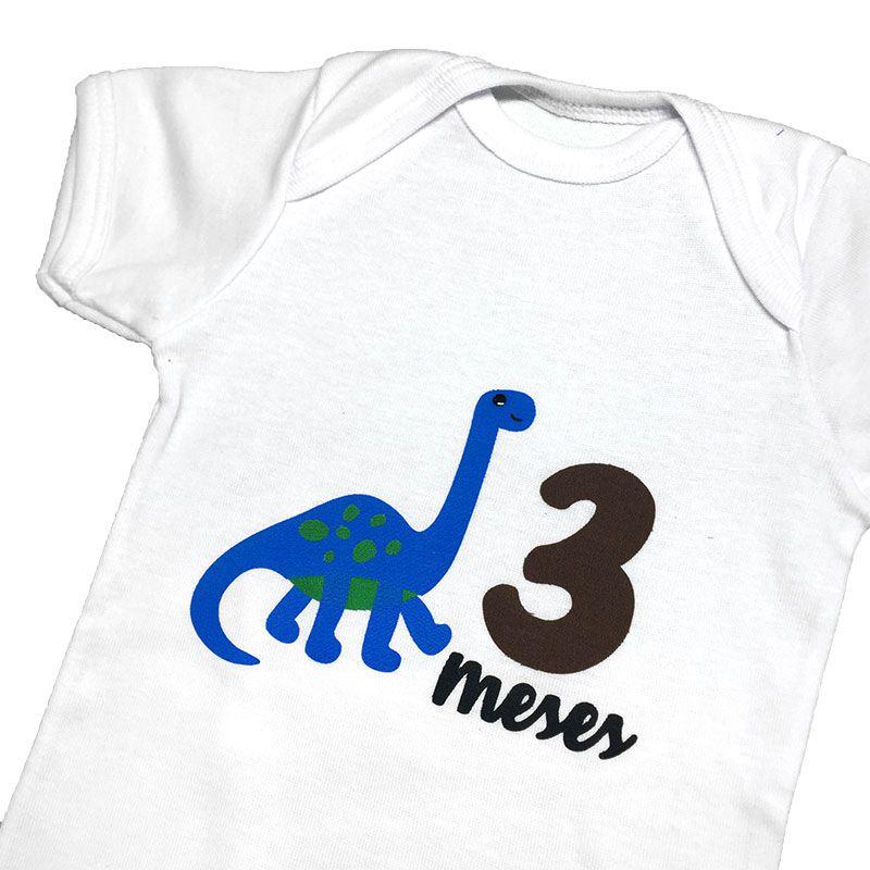 Body Mesversário Avulso Dinossauro Azul - Minha Estrelinha