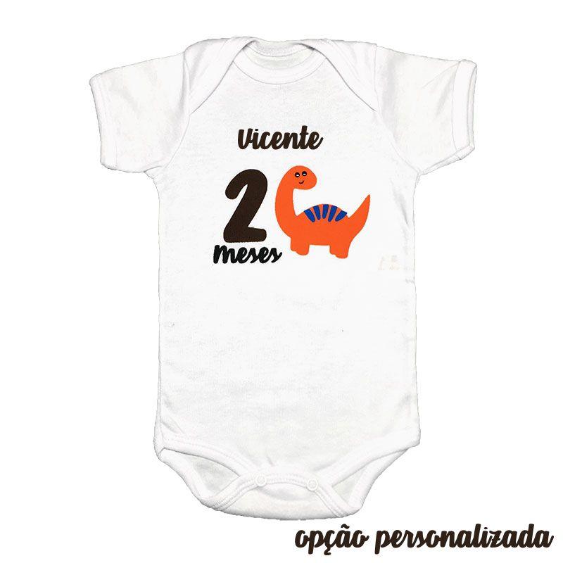 Body Mesversário Avulso Dinossauro Laranja  - Minha Estrelinha
