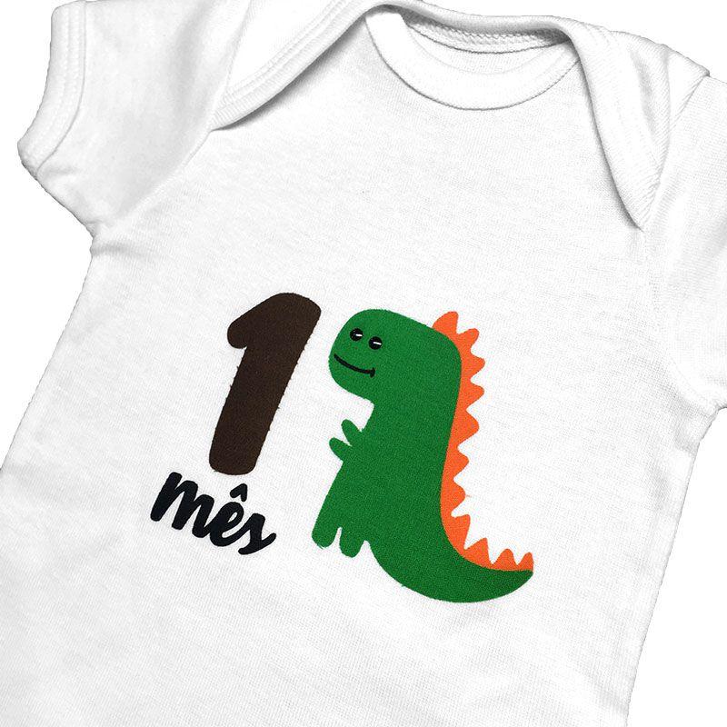Body Mesversário Avulso Dinossauro Verde  - Minha Estrelinha