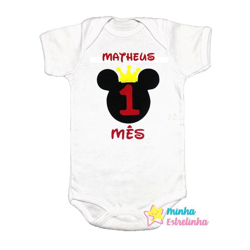 Body Mesversário Avulso Mickey - Minha Estrelinha