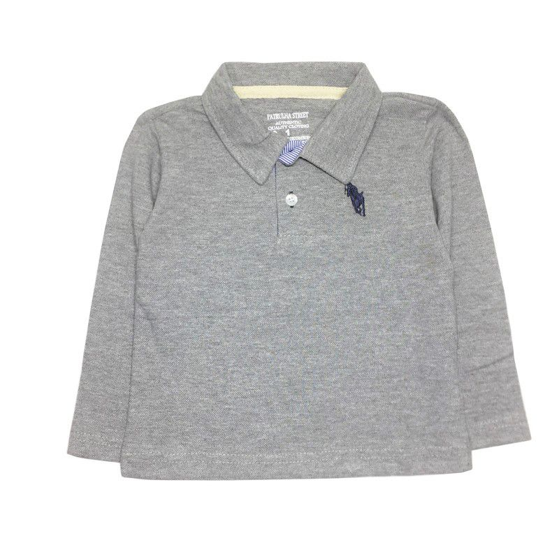 Camiseta Polo Manga Longa Cinza Claro - Patrulha Street