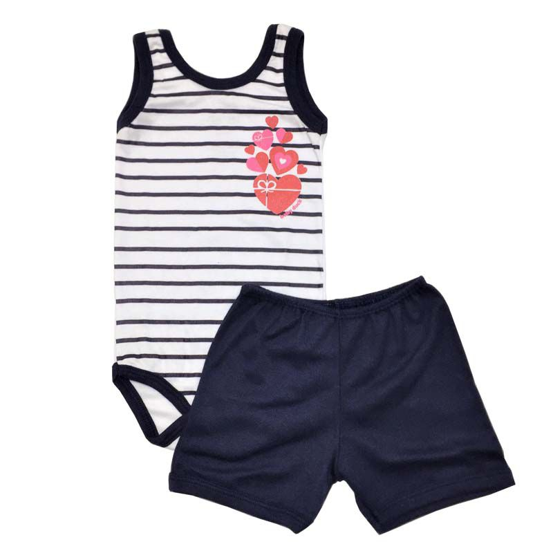 Body Regata e Shorts Flores e Listras - Baby Duck