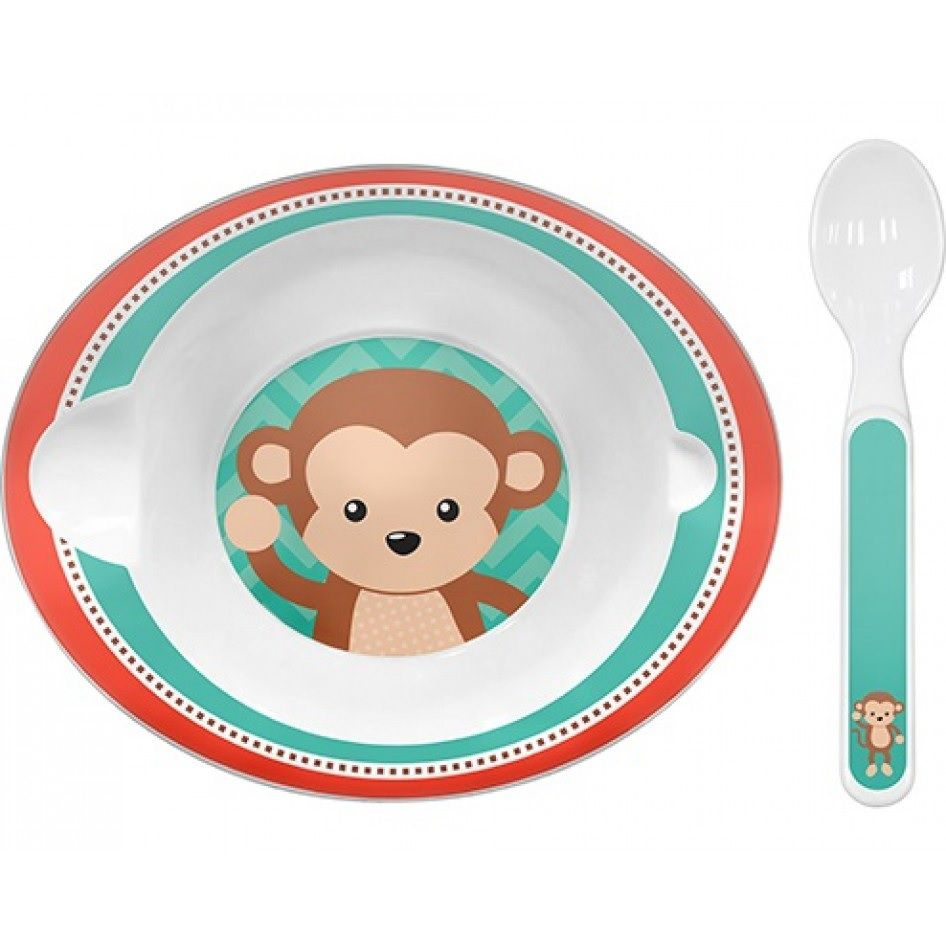 Bowl Animal Fun Macaco com Colher - Buba Baby