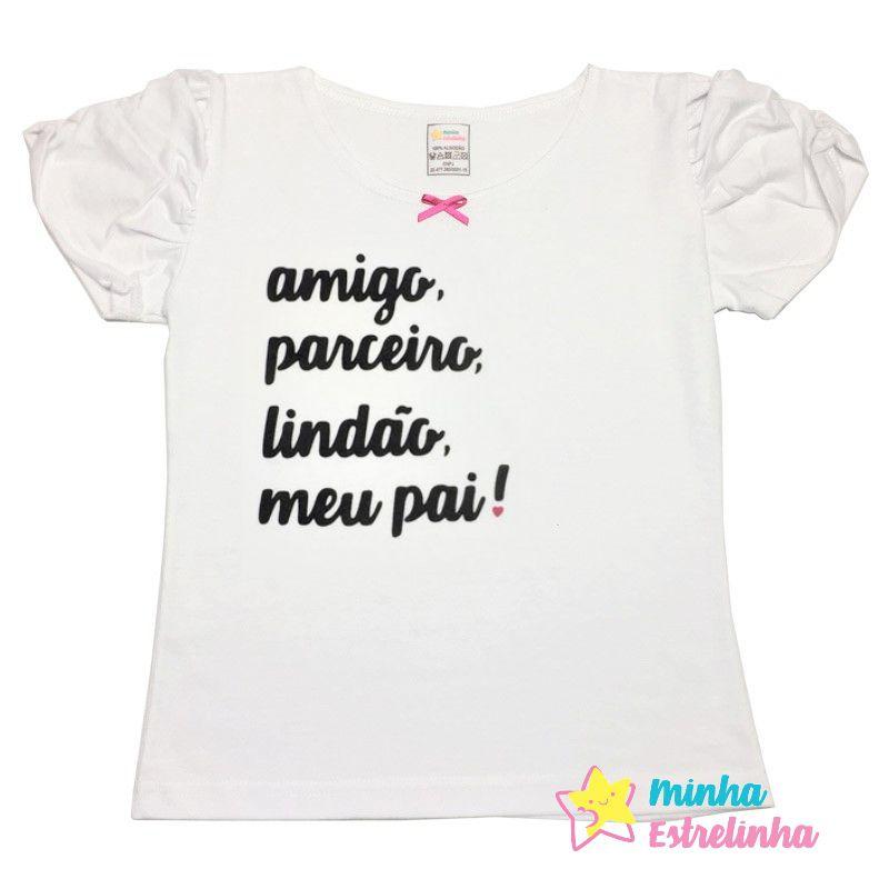 Camiseta frases pai manga princesa - Minha Estrelinha