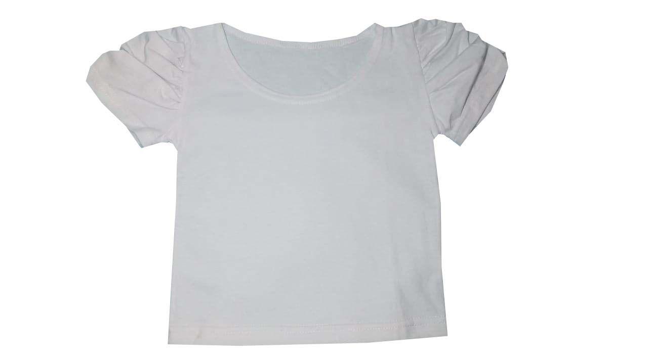 Camiseta Manga Princesa Algodão Branca - Baby