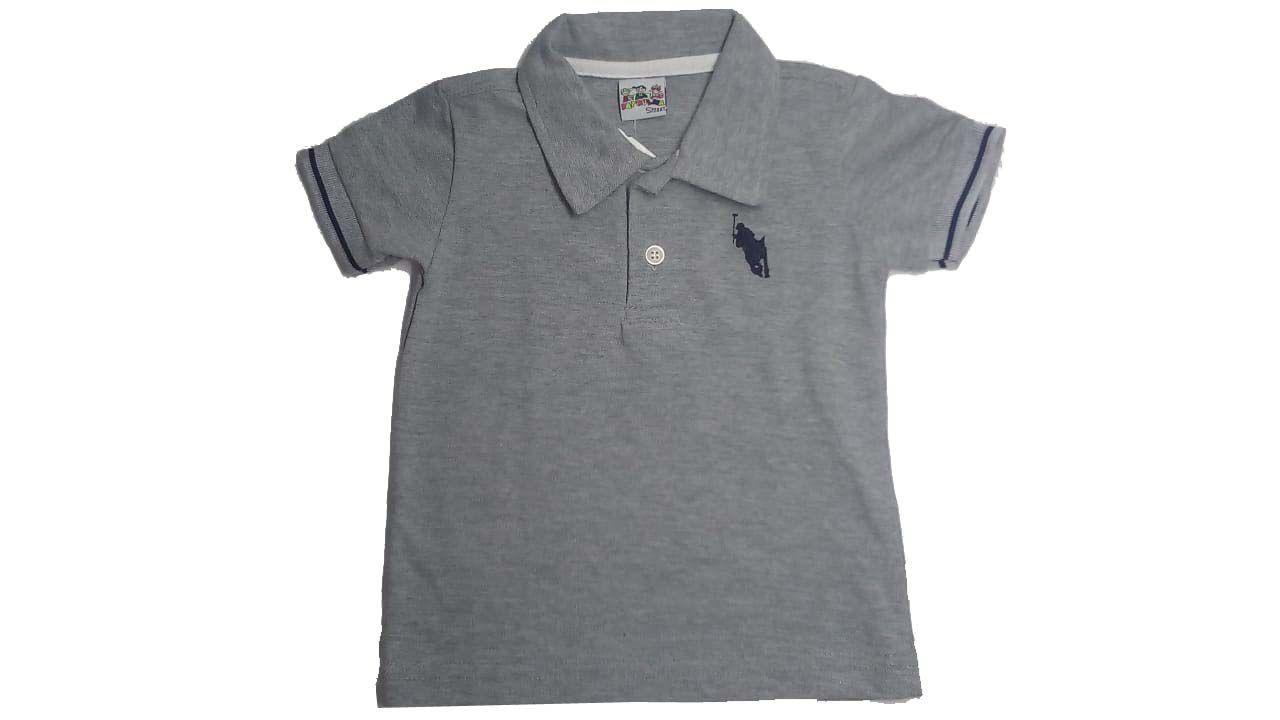 Camiseta Polo Manga Curta Cinza Claro - Patrulha Street - Tamanho 1 Ano