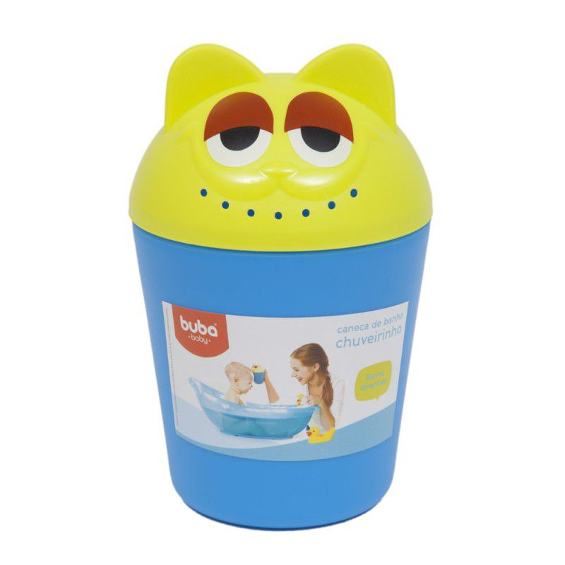 Caneca para banho chuveirinho azul e amarelo - Buba Baby