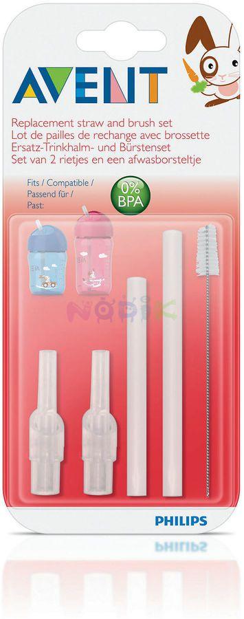 Canudos de Silicone e Escova Para Limpeza - Philips Avent