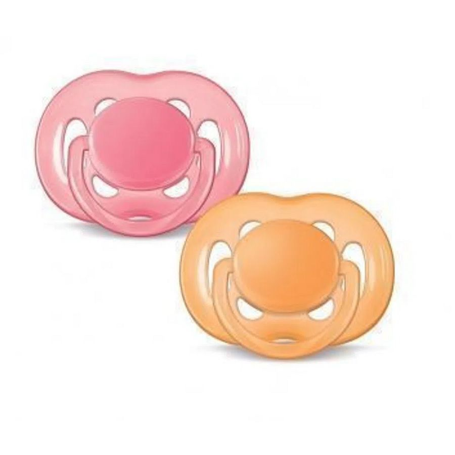 Chupetas Freeflow - Philips Avent -  6 a 18 meses (Rosa e Laranja)