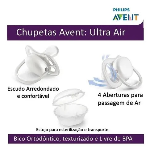 Chupetas Ultra Air Pinguim Philips Avent - 0 a 6 meses