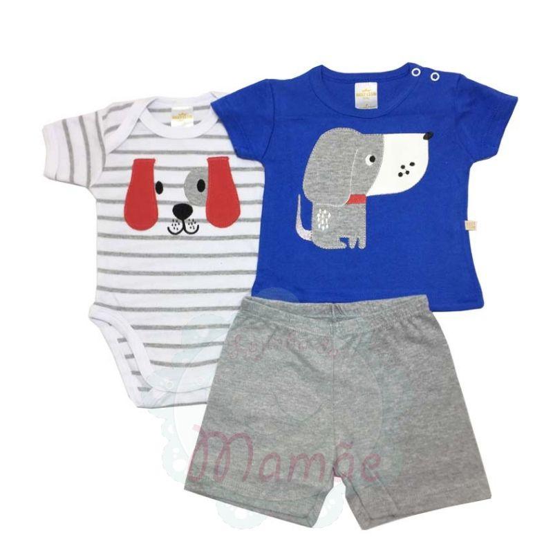 Conj. Camiseta Body e Shorts Dog Azul - Best Club - Tamanho P
