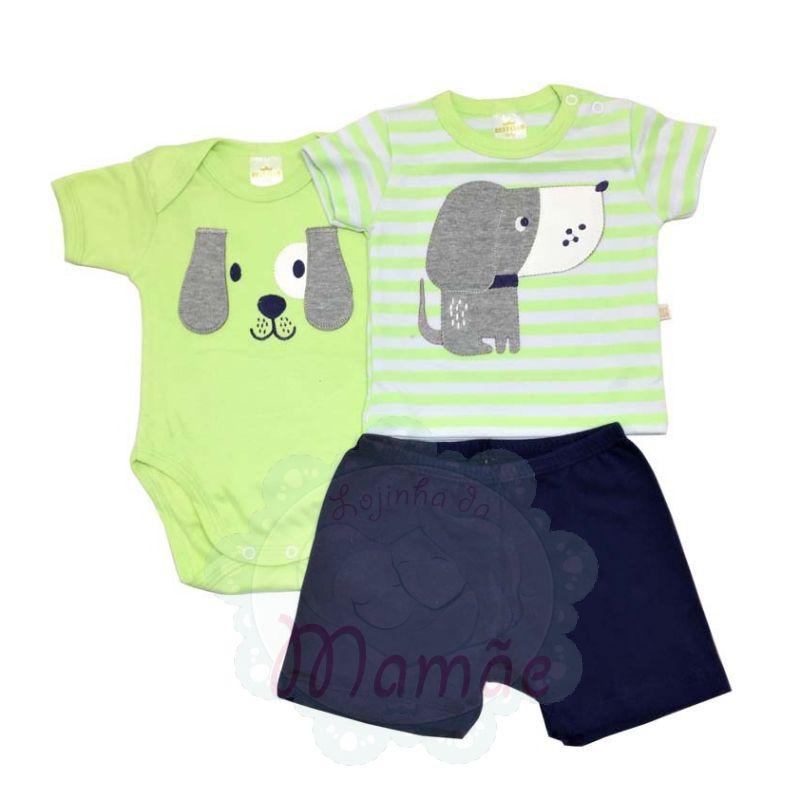 Conj. Camiseta Body e Shorts Dog Cinza - Best Club - tamanho P