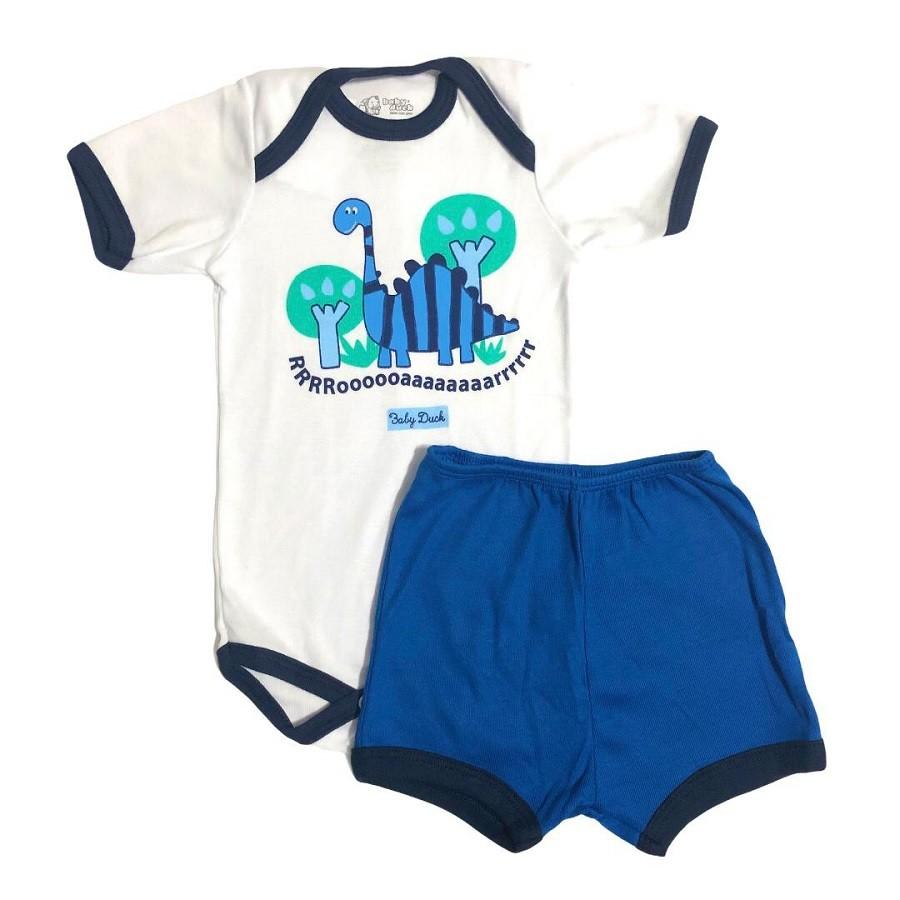 Conjunto Body Bebê Dino e Shorts Liso - Baby Duck