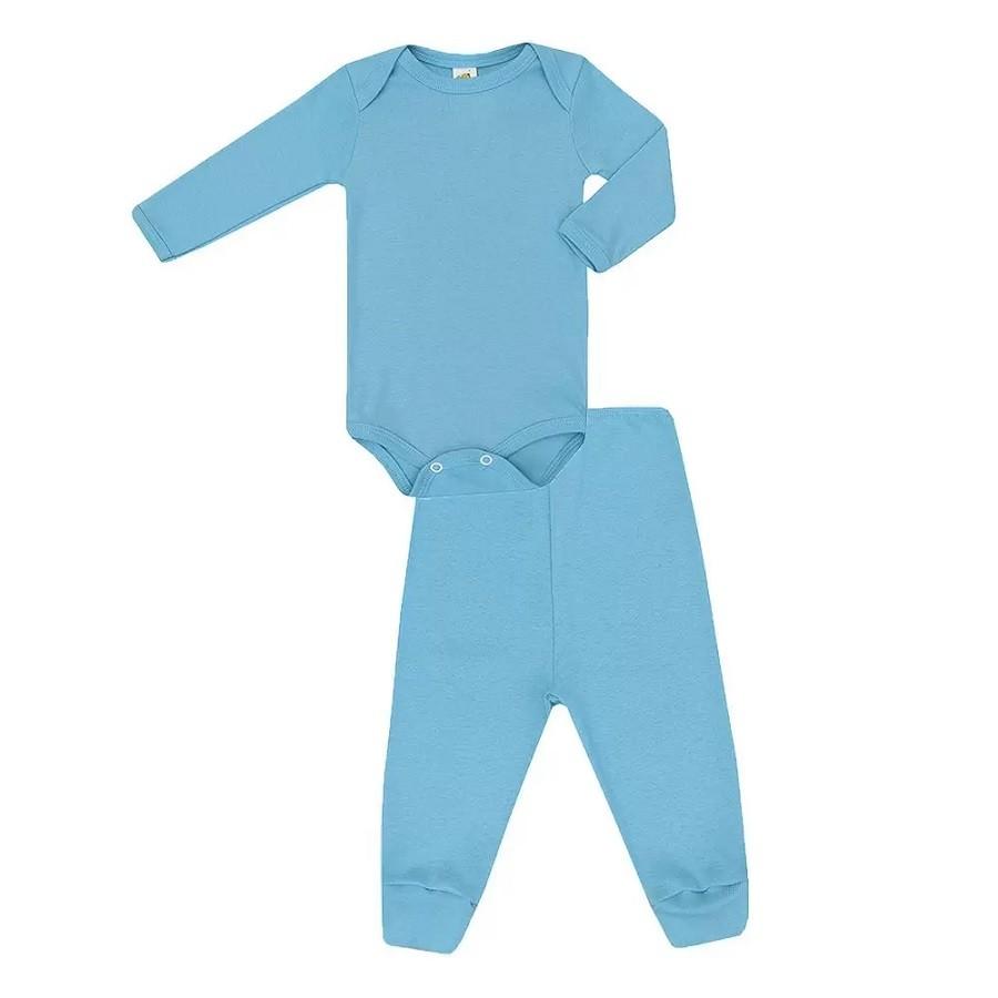 Conjunto Body Bebê e calça Básico Azul - Baby Duck - Tamanho M