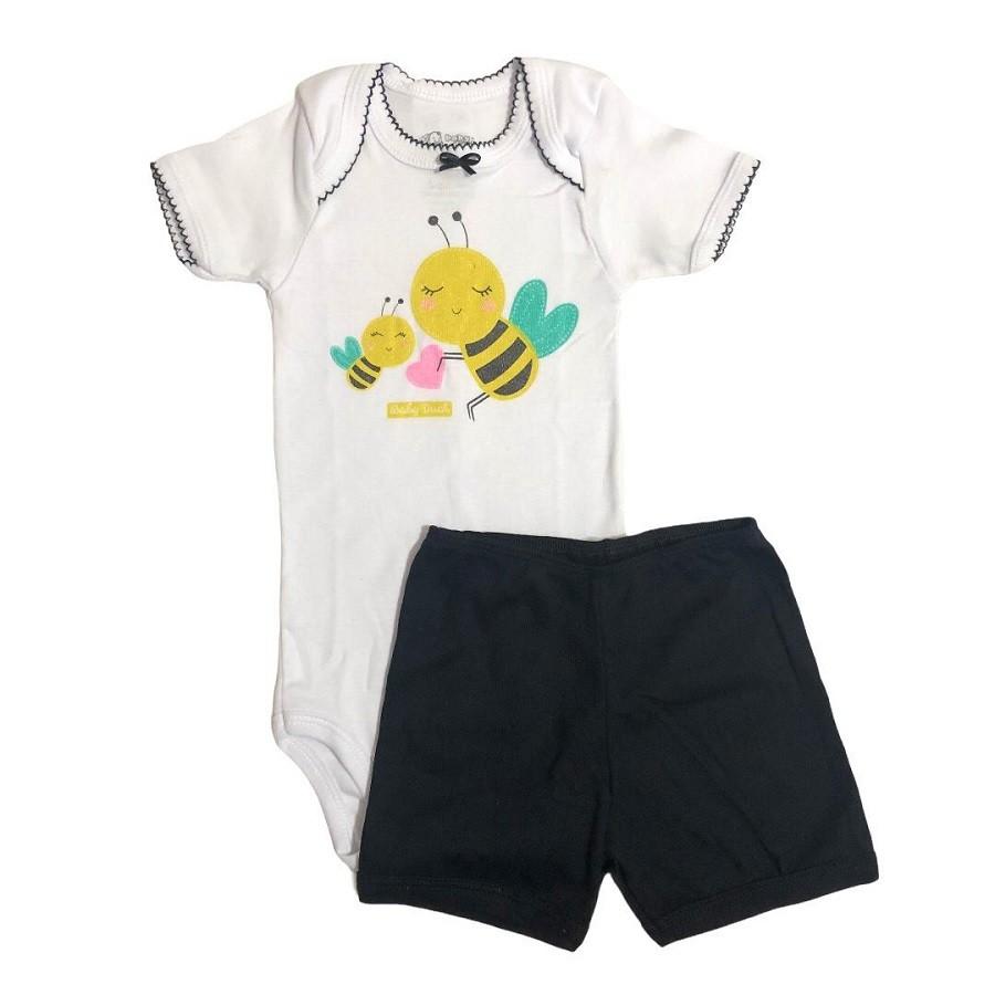 Conjunto Body Bebê e Shorts Abelhinha - Baby Duck