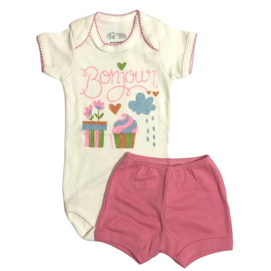 Conjunto Body Bebê e Shorts Bom Jour - Baby Duck