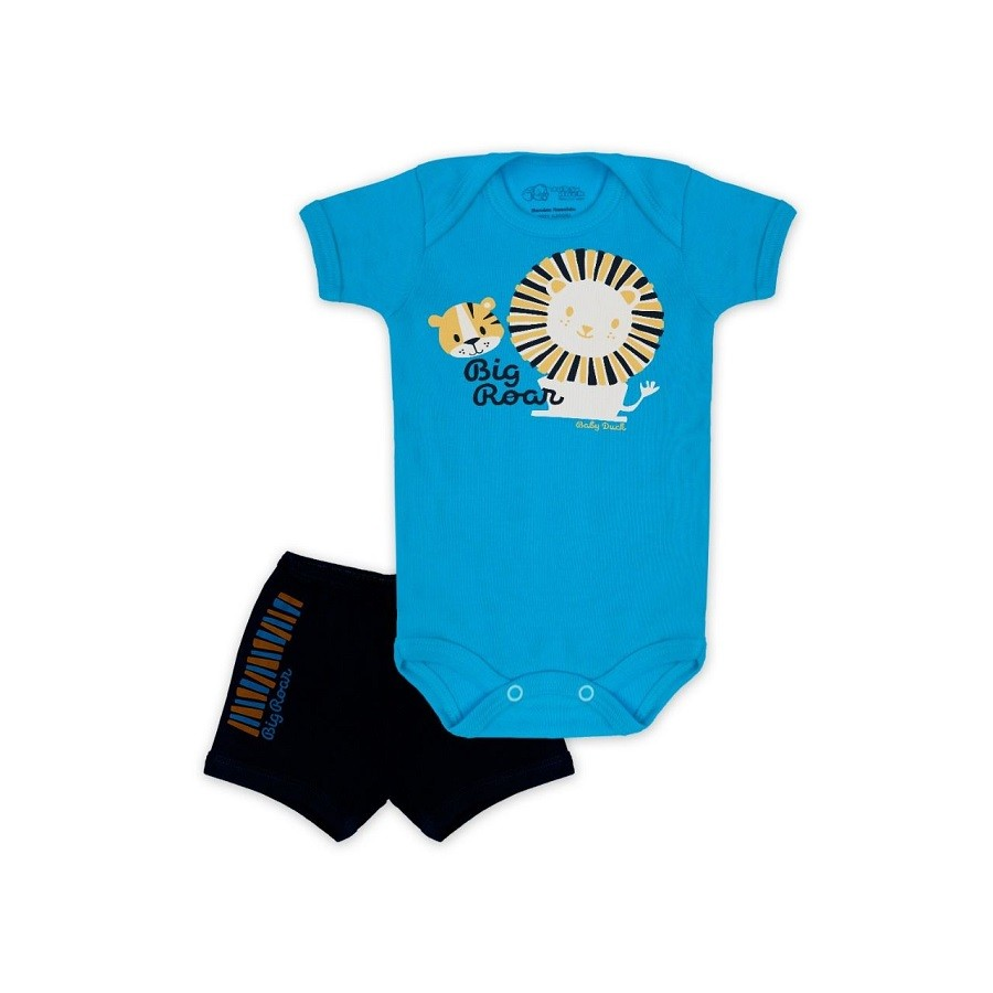 Conjunto Body Bebê e Shorts Leãozinho - Baby Duck
