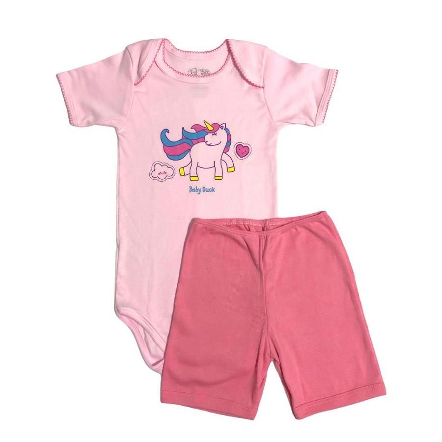 Conjunto Body Bebê e Shorts Unicórnio - Baby Duck