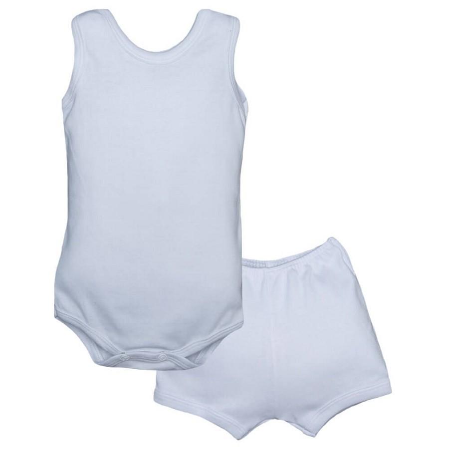 Conjunto Body Bebê Regatinha e Shorts Branco - Baby Duck