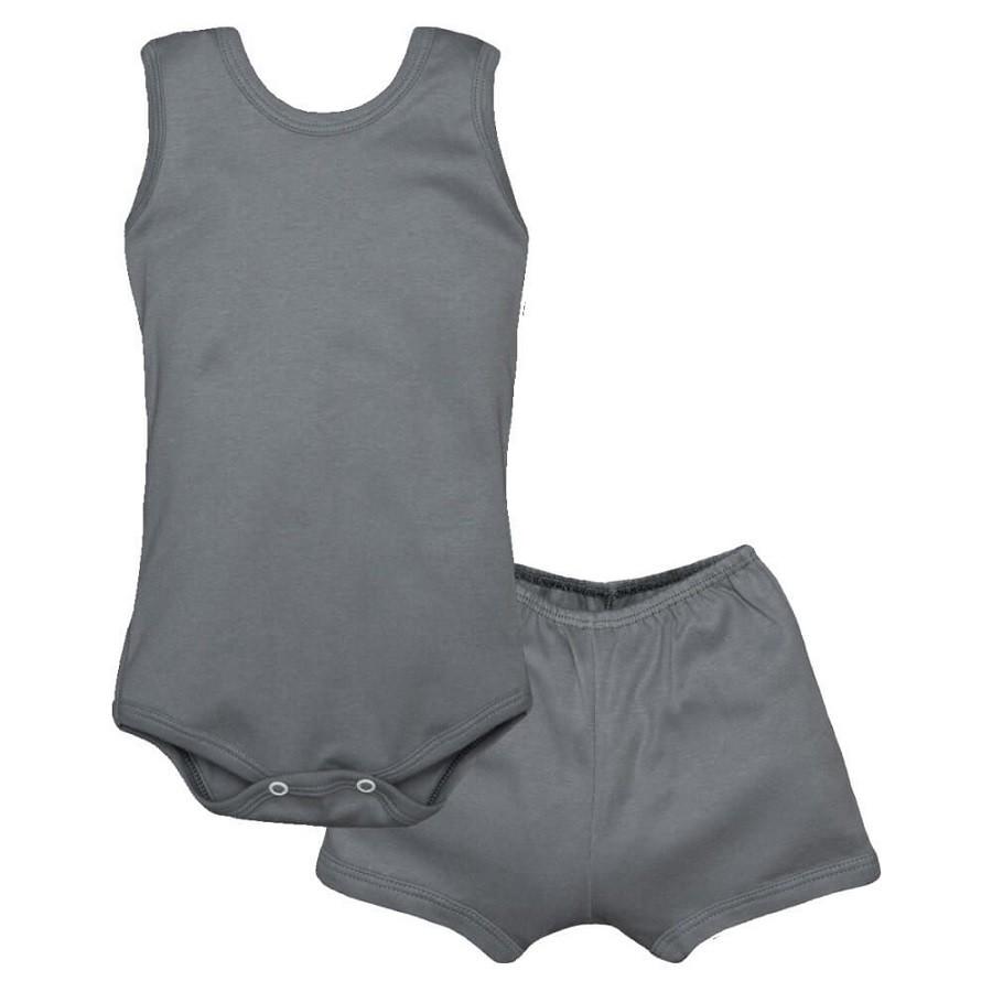Conjunto Body Bebê Regatinha e Shorts Cinza Chumbo - Baby Duck