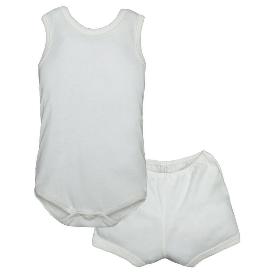 Conjunto Body Bebê Regatinha e Shorts Marfim - Baby Duck