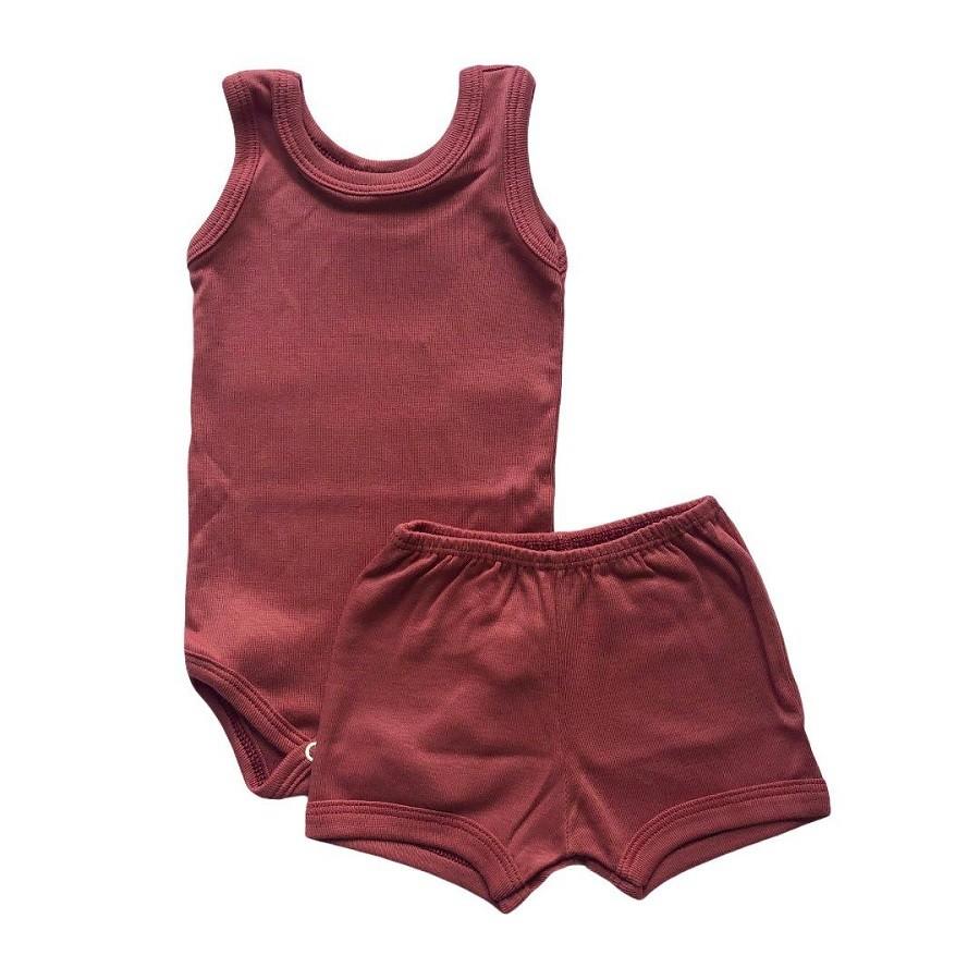 Conjunto Body Bebê Regatinha e Shorts Marsala - Baby Duck