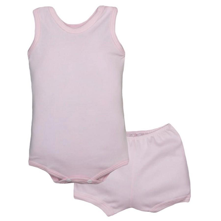 Conjunto Body Bebê Regatinha e Shorts Rosa - Baby Duck