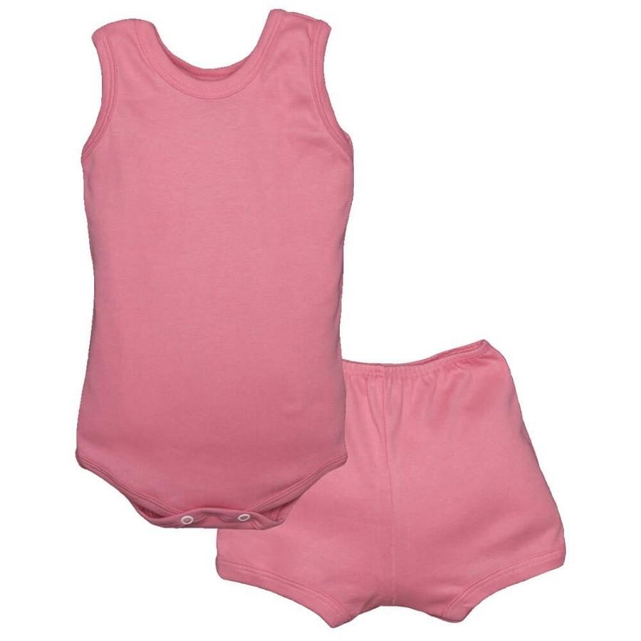 Conjunto Body Bebê Regatinha e Shorts Rosa Chiclete - Baby Duck