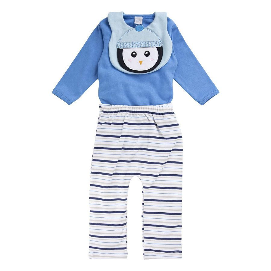 Conjunto Body  Calça e Babador Pinguim - Baby Gijo