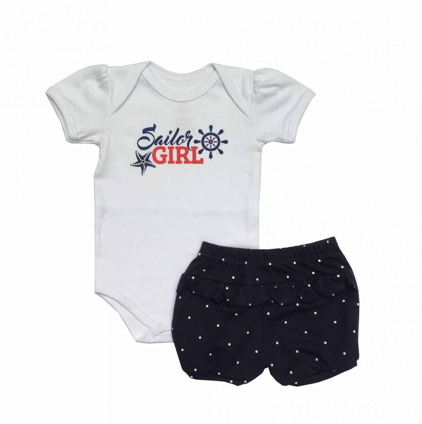 Conjunto Body e Shorts Marítima - Piu Blu - Tamanho G