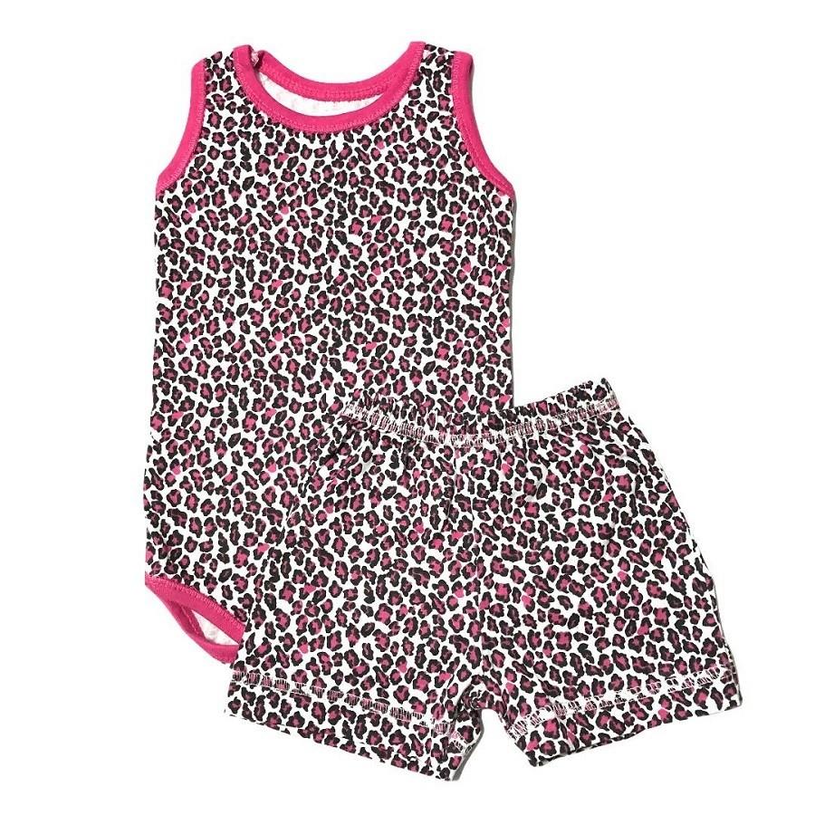 Conjunto Body e Shorts Oncinha Rosa - Bebê Brincalhão