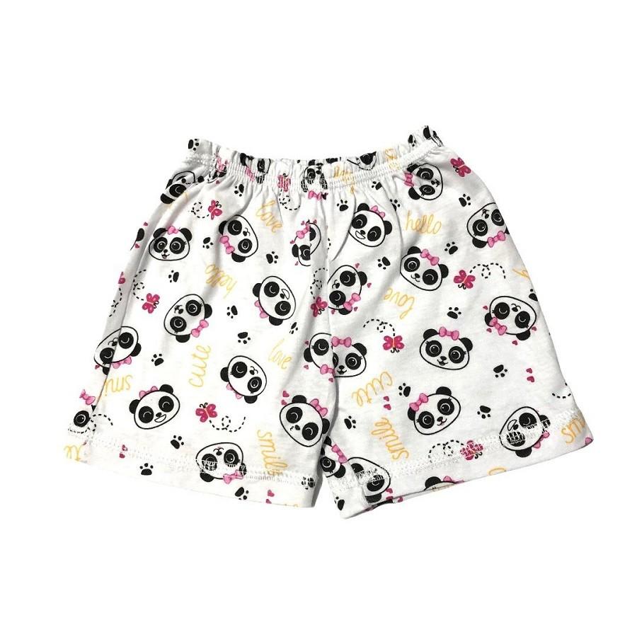 Conjunto Body e Shorts Pandinha Rosa - Bebê Brincalhão