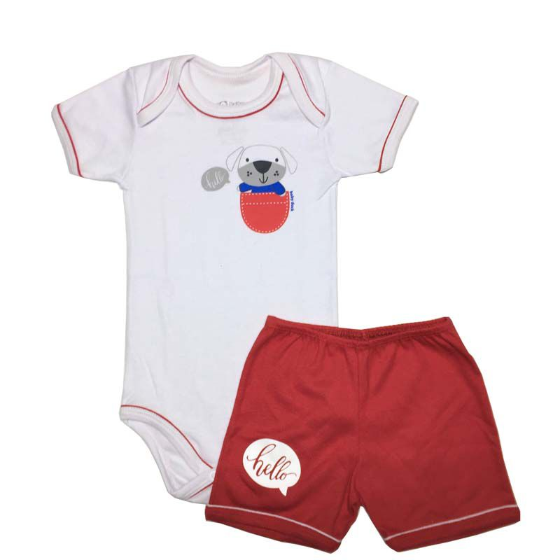 Conjunto Body Manga Curta e Shorts Hello Dog - Baby Duck - 1 Ano