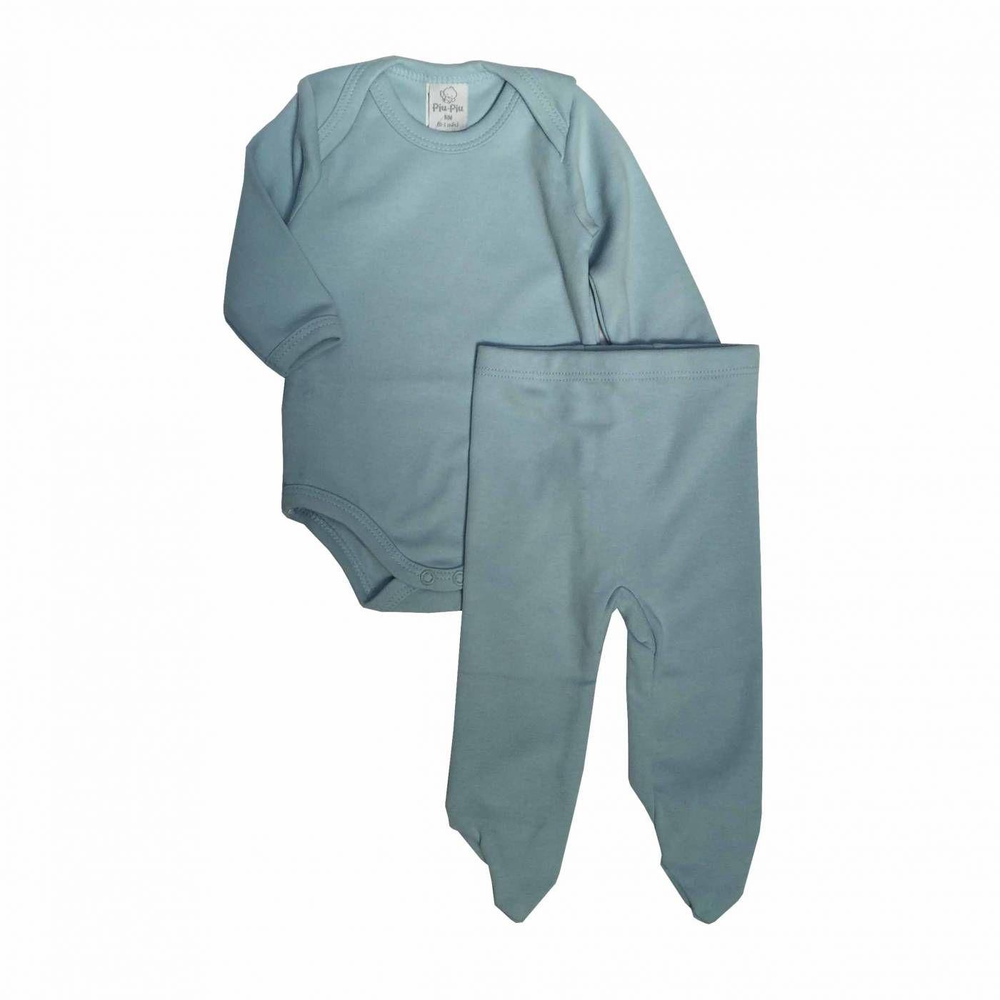 Conjunto Body Manga Longa e Culote Azul - Piu Piu - Tamanho RN