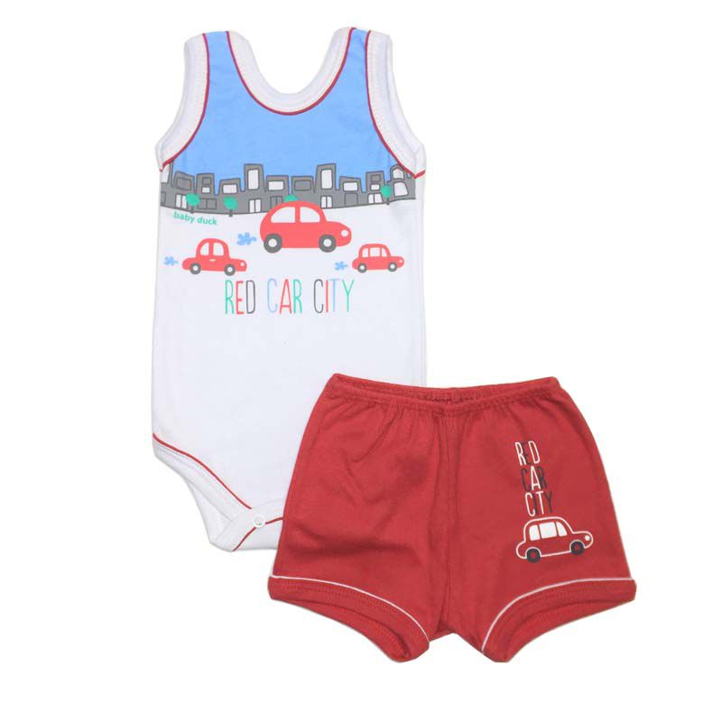 Conjunto Body Regata e Shorts Carros - Baby Duck