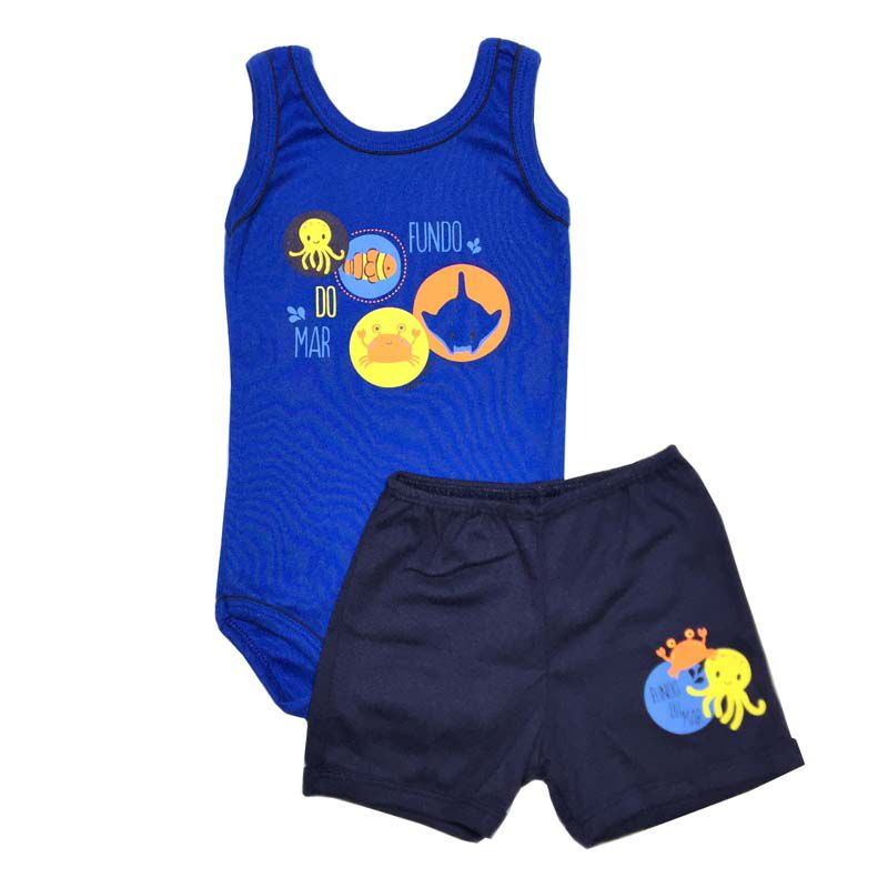 Conjunto Body Regata e Shorts Fundo do Mar - Baby Duck