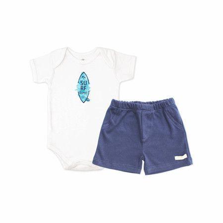 Conjunto Body Surf Time e Shorts - Piu Blu - Tamanho M