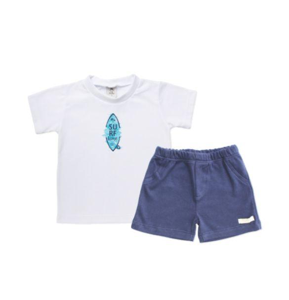 Conjunto camiseta e shorts Surf - Piu Blu - 3 Anos