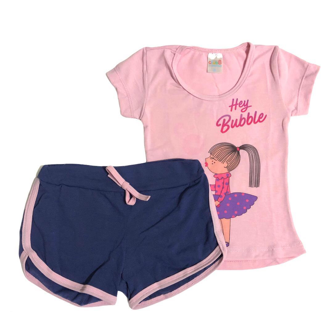 Conjunto infantil camiseta Bolha de sabão e shorts azul - ClubB