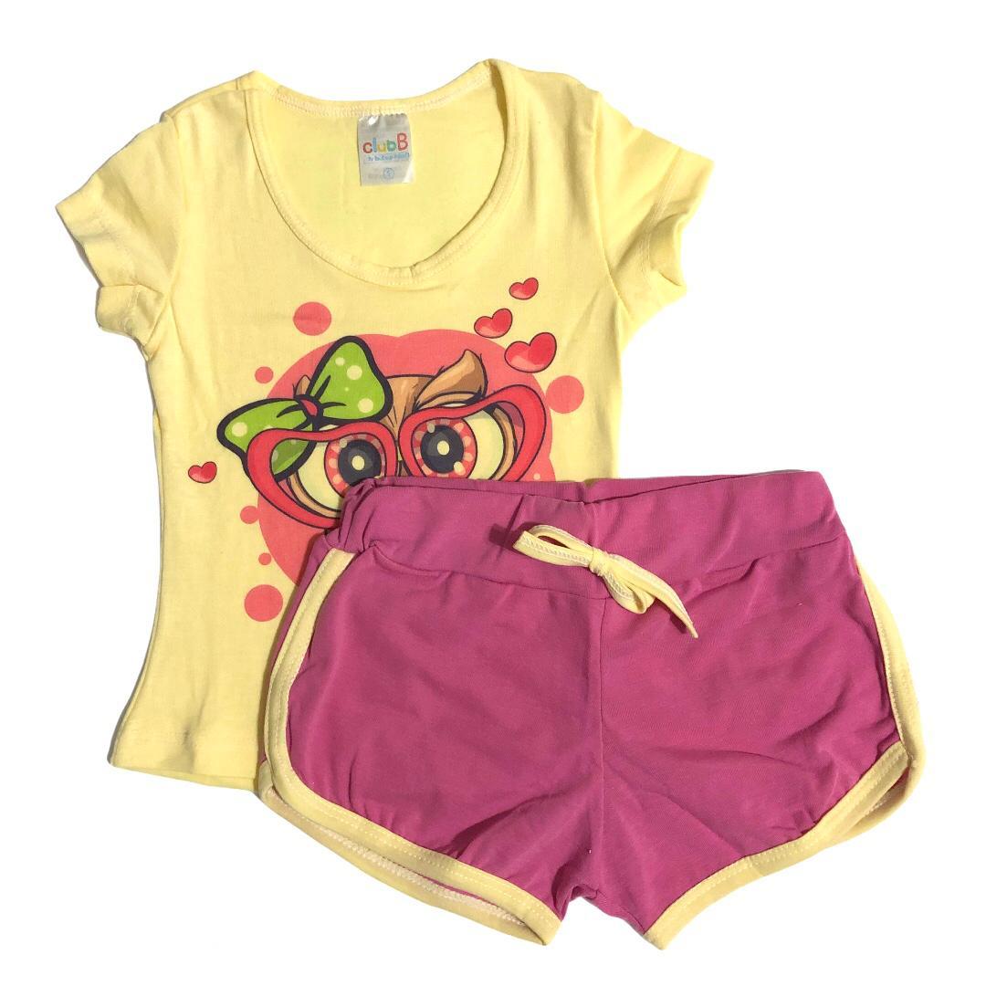 Conjunto infantil camiseta Coruja amarela e shorts rosa - ClubB