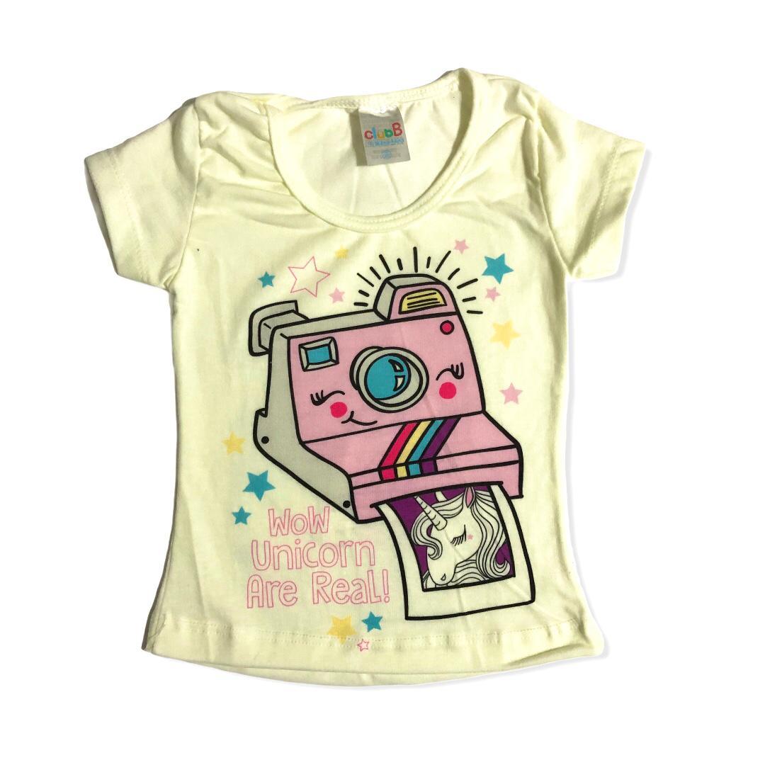 Conjunto infantil camiseta fotografia unicornio e shorts azul - ClubB