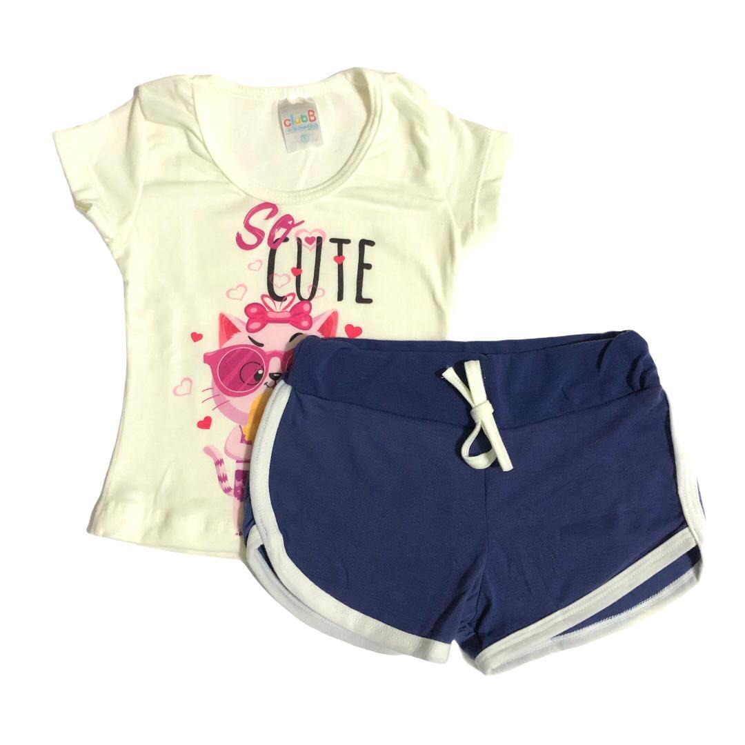 Conjunto infantil camiseta Gatinho sorvete e shorts azul - ClubB