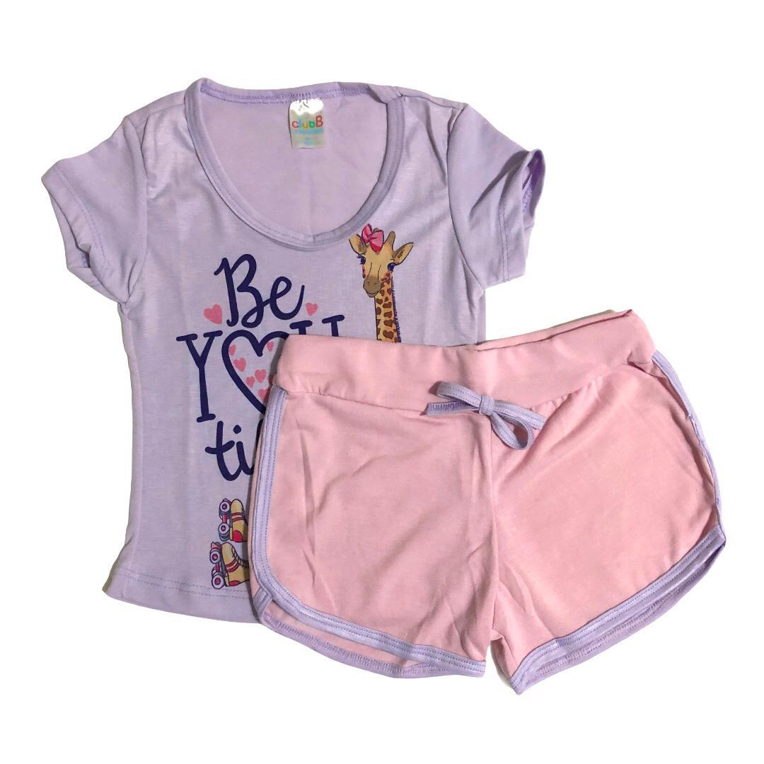 Conjunto infantil camiseta Girafinha lilás e shorts rosa - ClubB