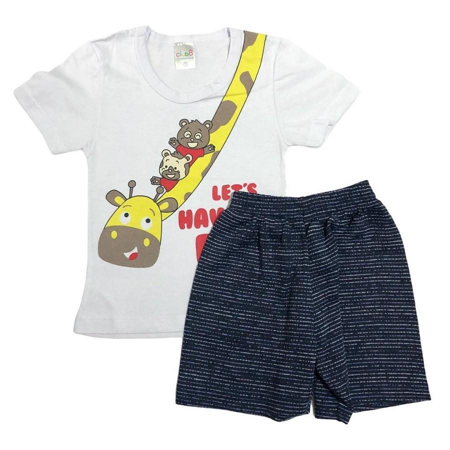 Conjunto Infantil Camiseta Malha e Bermudinha Amiga Girafa - ClubB
