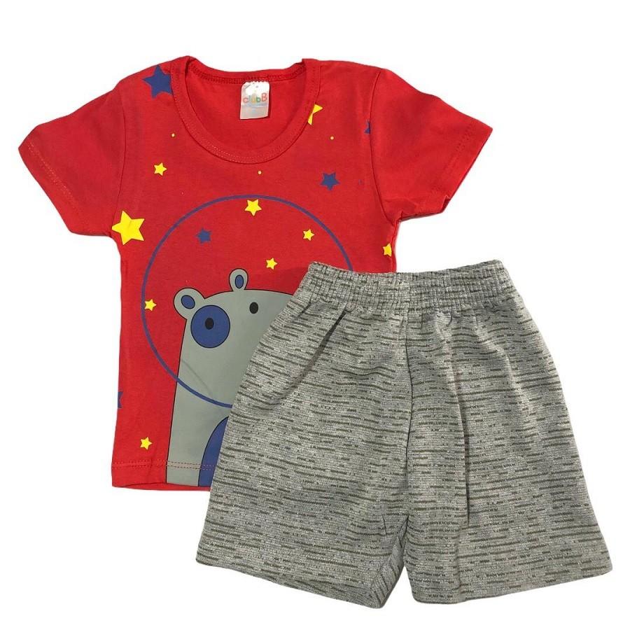 Conjunto Infantil Camiseta Malha e Bermudinha Estrelinhas - ClubB