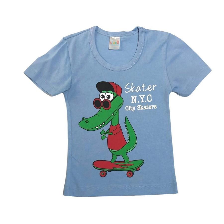 Conjunto Infantil Camiseta Malha e Bermudinha Jacaré Skate - Club B